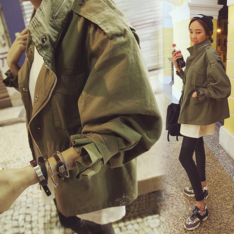 2016 Fashion Women Jackets Street Style Woman Slim Drawstring Army Green Military Stand Collar