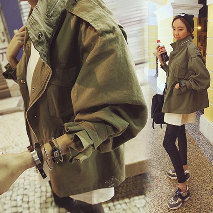 2016 mode femmes vestes Street Style femme mince cordon Army Green ...