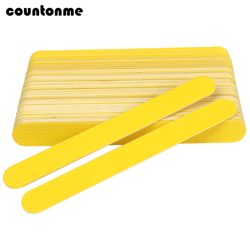 10pcs Yellow Double Sided Wooden Nail Files 180/240 Disposable Sandpaper Nail File For Gel Nails De Limas Buffer Nail Salon Tool