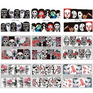 Image 5 - 25 pièces Ongles Autocollants Halloween Ensembles Crâne Dos bricolage Curseur Ongles Décalques Deau Manucure Décoration Enveloppe Ongles Feuilles CHSTZ731 755