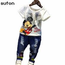 Bande dessinée de Mickey Mouse carttracksuits Enfants Enfants bébé Garçons Ensemble de Tissu sumemr 2 pcs Ensemble t-shirt + jeans pantalon mode Costumes Coton