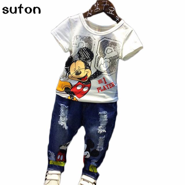 Dos desenhos animados de Mickey mouse carttracksuits Conjunto De Pano sumemr Meninos Dos Miúdos Das Crianças do bebê 2 pcs Set t-shirt + calças de brim moda Ternos de Algodão