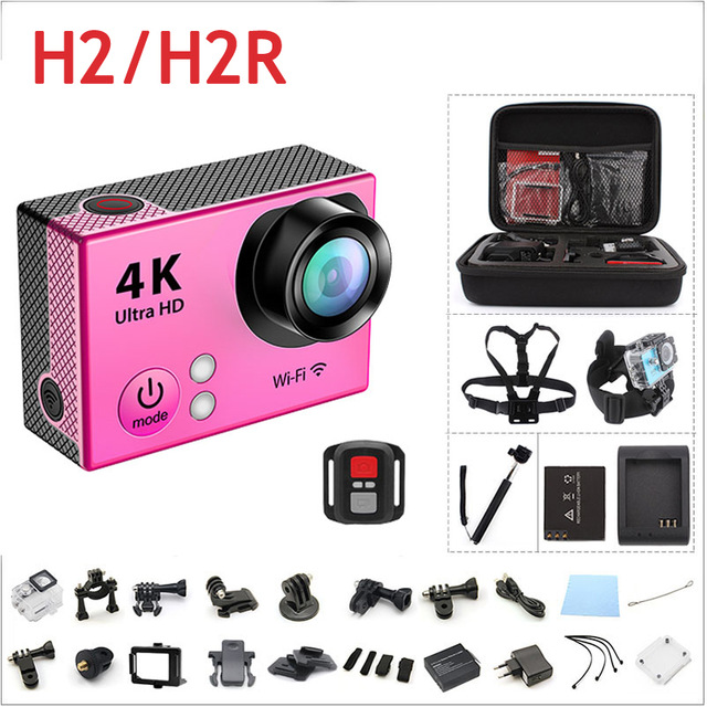 Mini Remote Control Action Camera Ultra HD 4K Waterproof 2.0 LCD 170 Lens WIFI Helmet Cam Sports DV H2 H2R Action Video Camera