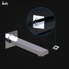 hm Faucet Spout Chrome Finish Brass Wall Mounted Bathroom Tub Square Wholesale And Retail Free Shipping