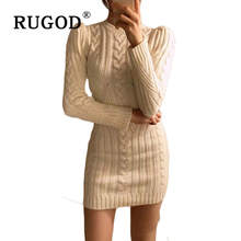 RUGOD אביב חדש שנה מקרית O צוואר ארוך סרוג סוודר שמלת נשים כותנה Slim bodycon שמלת סוודר נשי שמלה