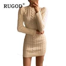 RUGOD primavera capodanno Casual O collo abito lungo maglione lavorato a maglia donna cotone Slim aderente abito Pullover abito femminile