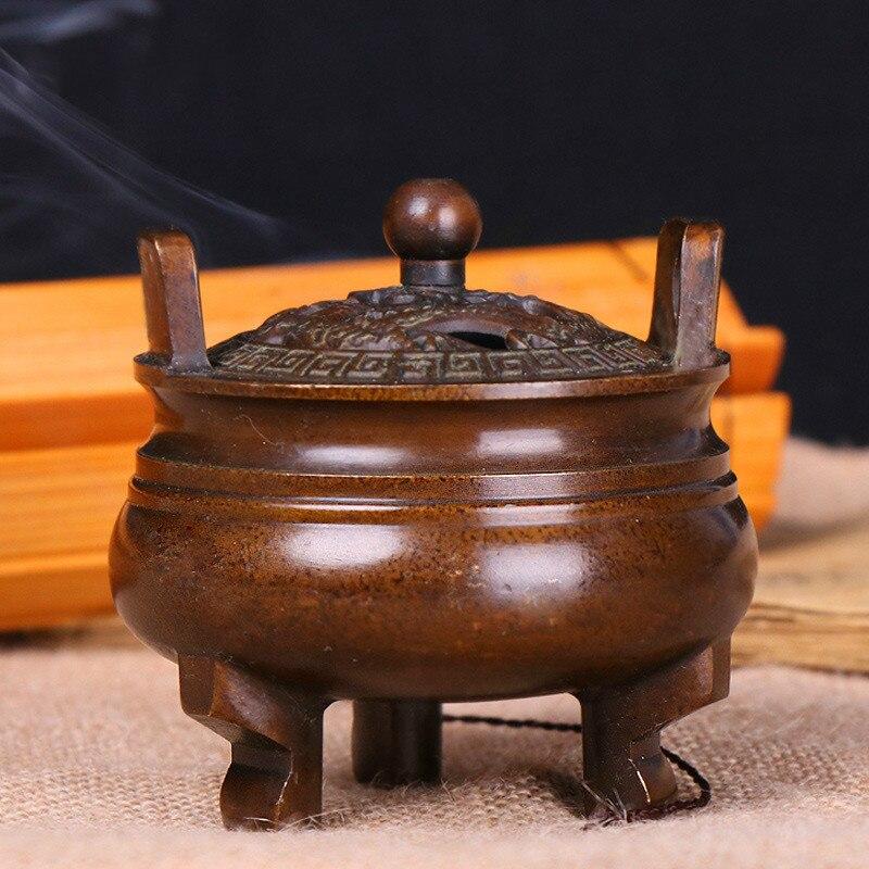 Brûleur d'encens en cuivre pur de haute qualité plat d'aromathérapie en bois de santal domestique style chinois pur cuivre de chine simple
