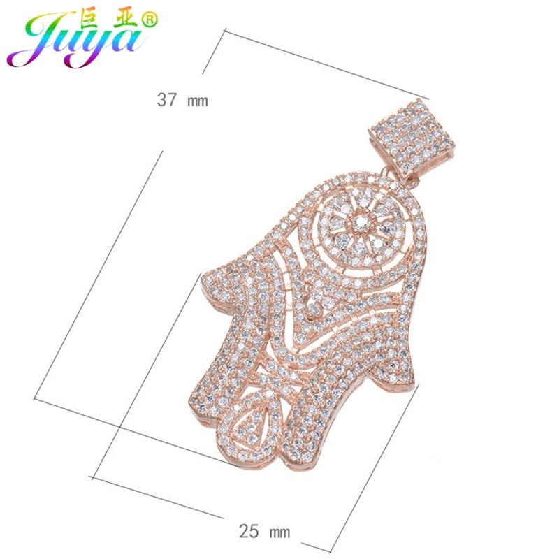 Juya DIY Gull / Sølvfarge Hamsa Fatima-kontakt Anheng for naturlige - Mote smykker - Bilde 2
