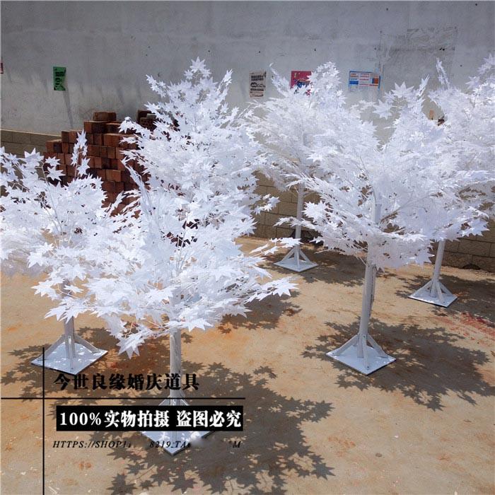 1.8 m de altura Branco imitação de árvore para casamentos/folhas Brancas, loja de decorações de casamento - 2