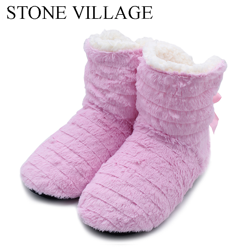 STONE VILLAGE Superior Quality Cute Bow Home Slippers 2018 New Korea Style Print Plush Warm Winter Women Slippers Woman shoes 3