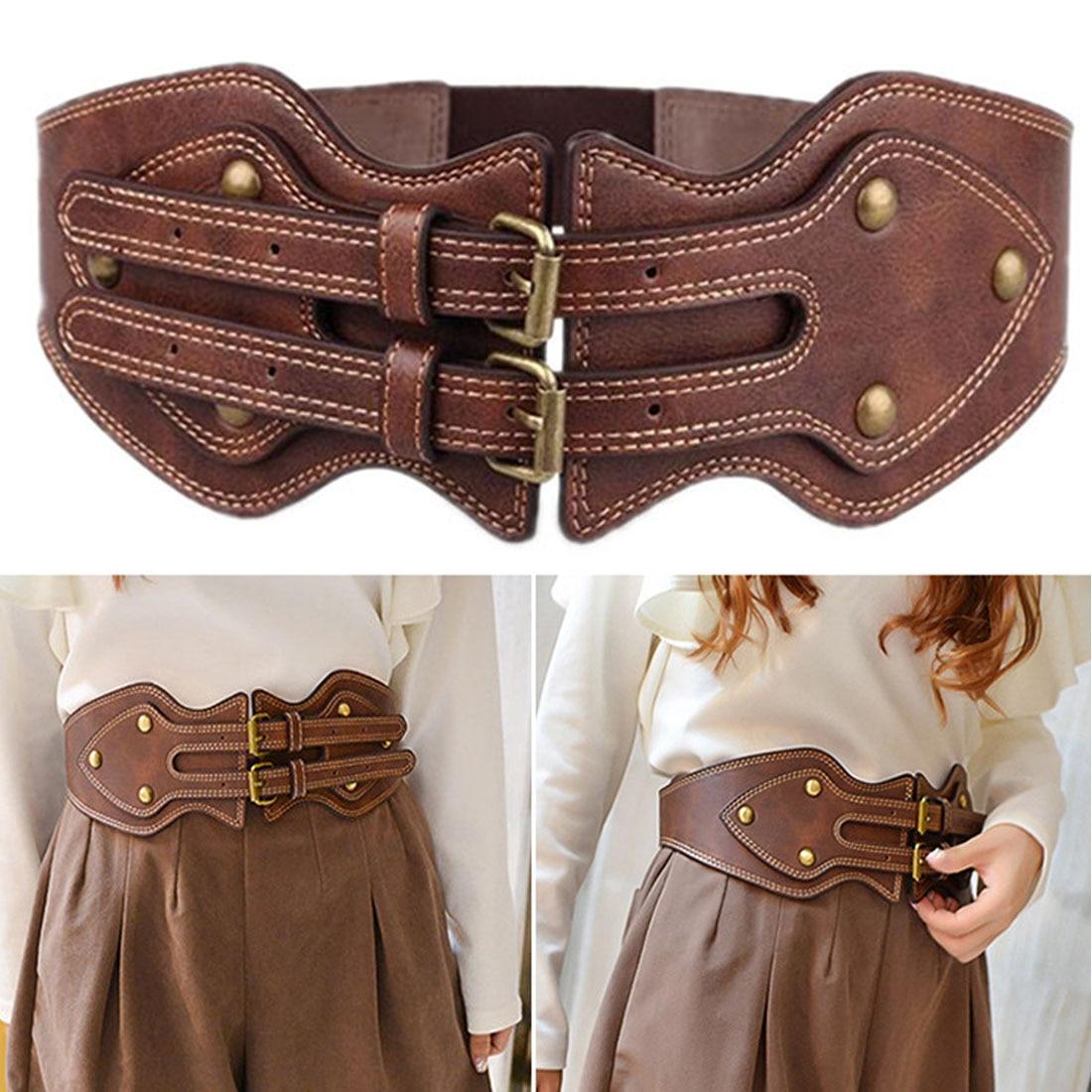 Women Vintage Genuine Leather Waistband Dual Metal Needle Buckle Stylish Elastic Wide Belt Cummerbund For Apparel Accessories