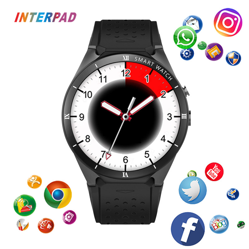 Interpad KW88 Pro Smart Watch 3G GPS WIFI Android 7.0 Smartwatch 1GB RAM 16GB ROM MTK6580 Support Google Weather For iOS Android цена