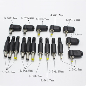 5.5x2.5 5.5x2.1 4.8x1.7 4.0x1.7 3.5x1.35 3.5x1.1 2.5x0.7 mm Male DC Power Plug Connector Angle 90 180 degree L Shaped Plugs(China)