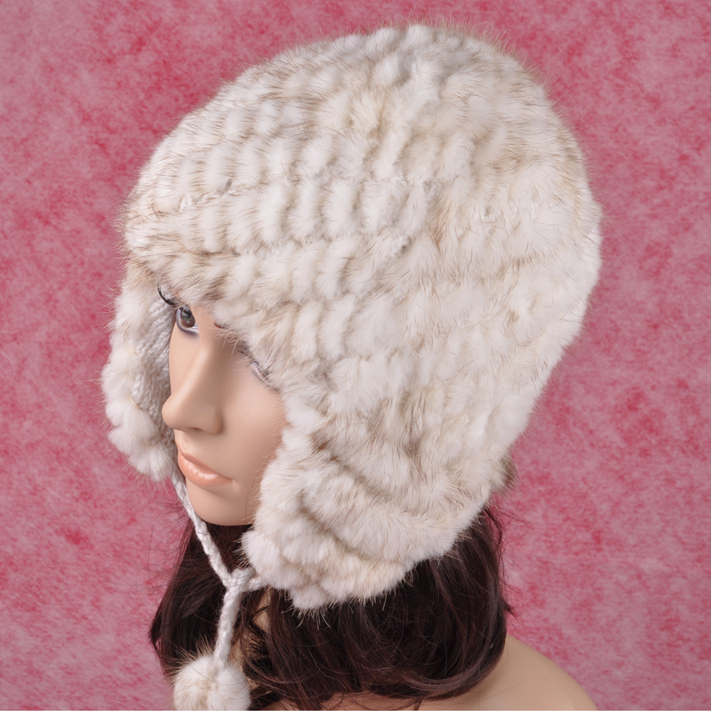 ФОТО H415 winter women cap with natural mink ,fashion handmade knitted earflaps white wholesale fur bomber hats