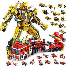 купить 12 IN 1 Building Block Bricks Engineering Vehicles Deformation Robot Car Truck Agitator Crane Mech armoring Robot DIY Toys Gifts по цене 1367.1 рублей