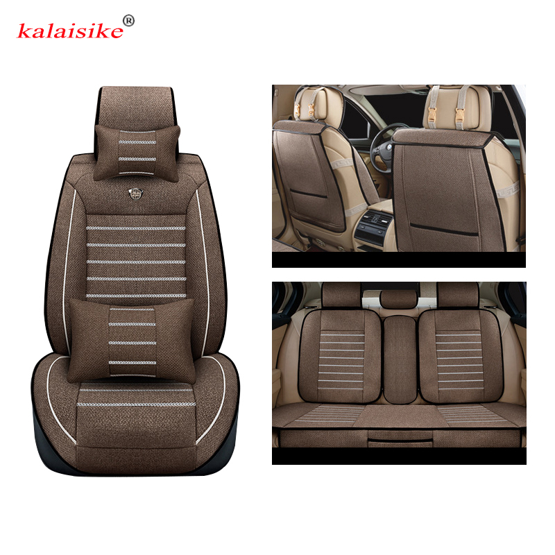 Kalaisike Linen Universal Car Seat covers for Kia all models sorento ceed rio sportage optima cerato k2 k3 k4 k5 car styling new styling leather car seat cover car cushion complete set for kia k4 k5 kia rio ceed cerato sportage optima maxima four season