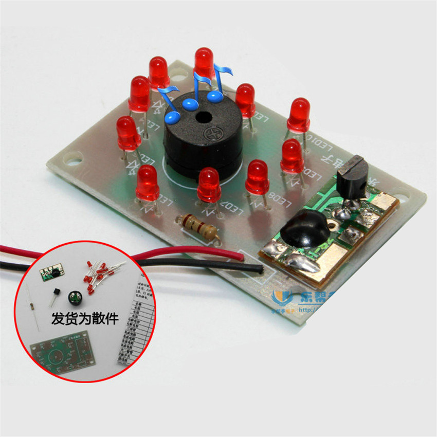 DIY electronice kit With music voice control, heart-shaped suite/music suite/LED lights parts/DIY kits