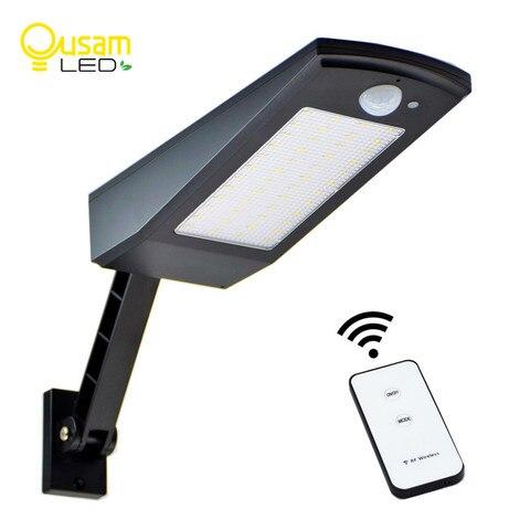 luz solar 48 led 900lm auto pir sensor de movimento com controle remoto jardim parede