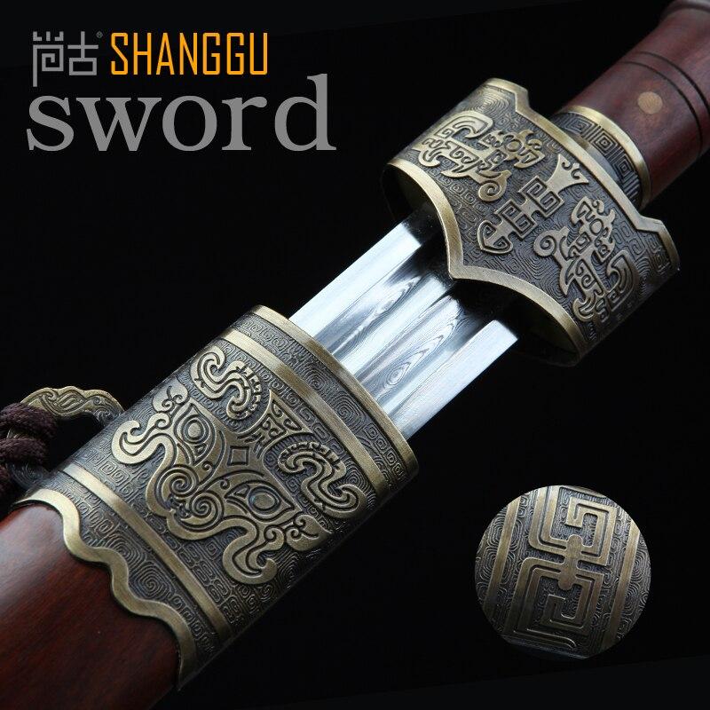 Blood Trough Ebony Bronze Yue Damascus Steel Sword Longquan King's - Home Decor