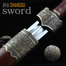 Blood Trough Ebony Bronze Yue Damascus Steel Sword Longquan King's Sword High-end Art Collection longquan sword chinese sword sale full tang damascus steel handmade brass dragon grain fitting length 39