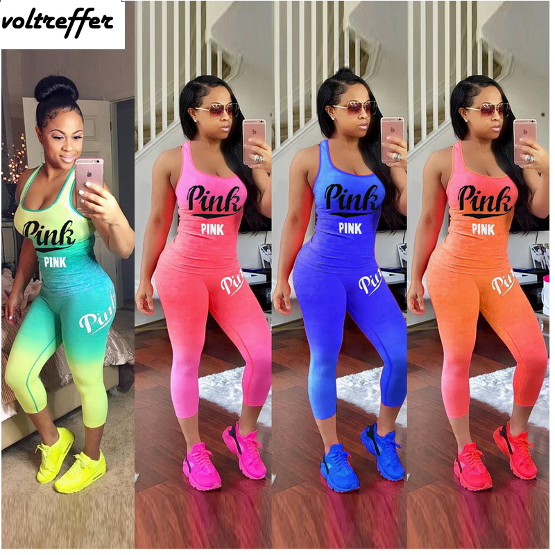 Bandage Bodycon Bodysuit Women Letter Gradient Color Tye Dye Print Two Piece Set Casual Playsuits Sexy Overalls Plus Size Cloth