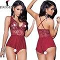 Nueva Cruz bandage rojo sexy lingerie Hot LACE Deep V cuello mujeres babydoll langerie sexy Lencería erótica trajes atractivos 38
