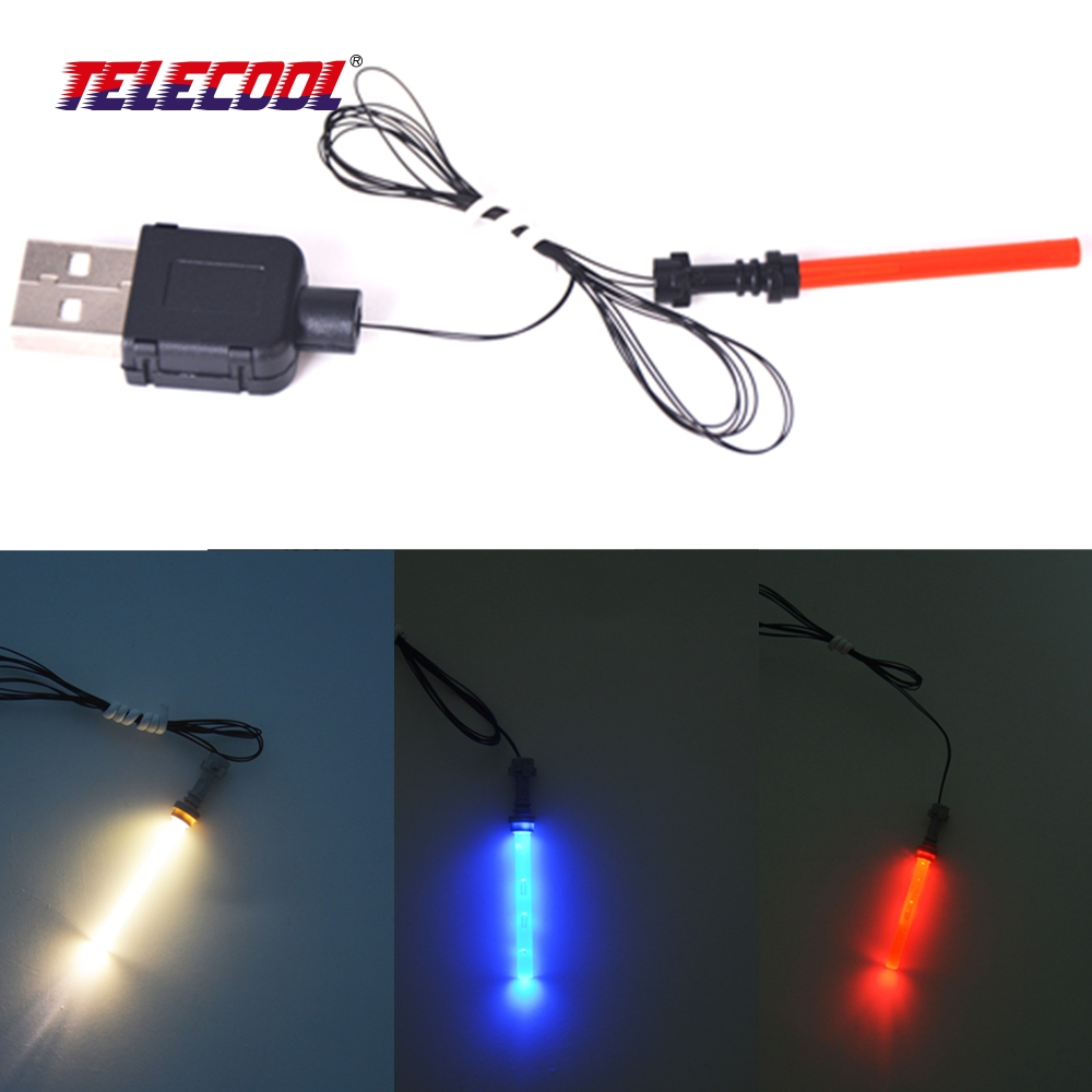 TELECOOL 1 stk DIY LED-lys Star War Light Saber drevet av USB for Trooper Toy Gift kompatibel med Classic Brand Figures Toy