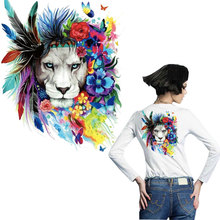 flower lion patches for clothing animal sticker iron on transfer T-shirt hoddie jean A-level washable diy patch parches ropa
