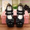 9.5 cm Lolita Cosplay Del Bloque de Tacón Alto Zapatos de Plataforma de Cuero Negro Zapatos Mary Jane