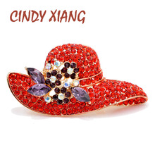 CINDY XIANG Rhinestone Hat Brooches for Women Red Color New Fashion Winter Corsage Coat Sweater Accessories High Quality