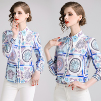 Luxurious Brand Delicated Pattern Printed Charming Shirts Lady Temperamental Lapel Vintage Printing Western Style Printed Shirt