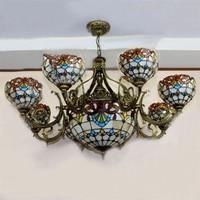 European Mediterranean Vintage Glass Pendant Light Artistic Tiffany Bar Cafe Lamp Dining Room Pendant Light Baroque Shape
