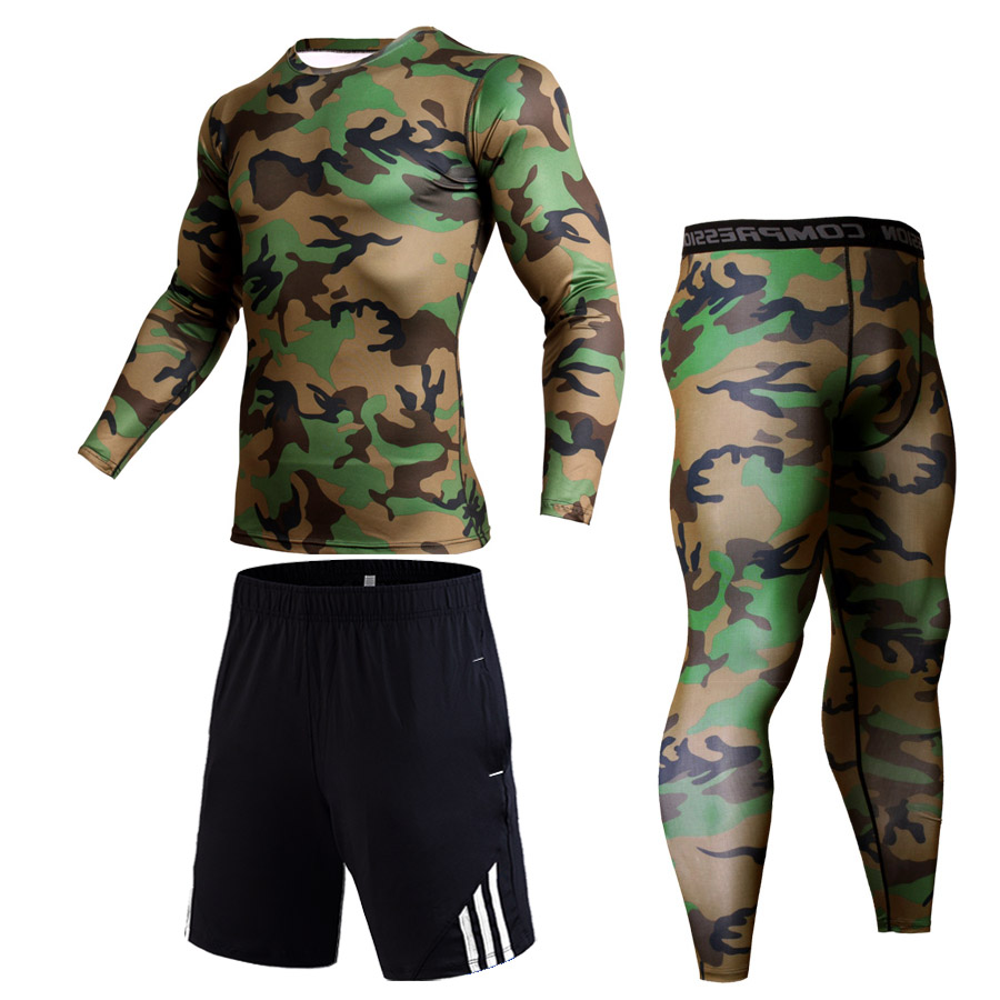 running - Running Shirt Men Compression Pants Track suit Leggings Sport Fitness workout set MMA rashgard male Quick dry Gym jogging suits