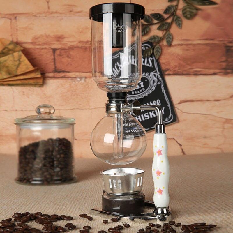 Pratique Accessoires de Café siphon cafetière ensemble, y compris 2 pièces Verre siphon pot, 1 pièces brûleur à alcool, 1 pièces support JY