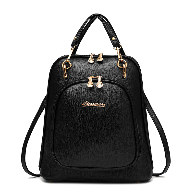 Fashion Simple Style High Quality Women Backpacks Pu Leather School Bag Satchel Brand Design 2017 Female Backpack Women Rucksack concise women s satchel with double zip and pu leather design
