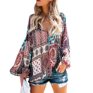 Blouse Chiffon Shirt V-Neck Long-Sleeve Floral-Patchwork Casual Women Loose Fabala Autumn