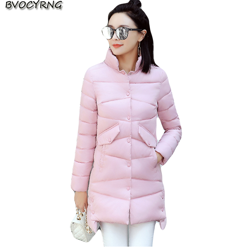 2017Winter Medium Long Women Winter Jacket Coat Elegant Fashion Stand Collar High-end Big Yards Warm Cotton Students Coat Q629 2017new winter fashion elegant women coat hooded big yards medium long high end jacket eiderdown cotton slim warm coat q457