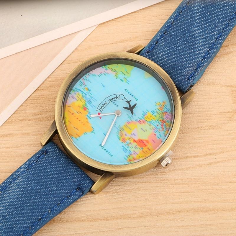 2017 Hot Sale Bronze Aircraft Map Fashion Quartz Wristwatch Men Women Ladies Girls Earth Watches