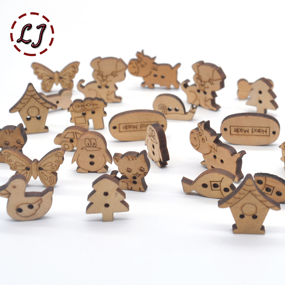 50PCs Mixed Colours Cute Cat 2-holes Button Charm Sewing Accessories Wooden