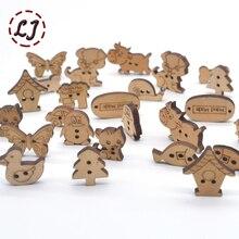 Хит, 50 шт./лот, натуральный цвет, милый с мультяшным изображением, деревянные пуговицы для детей, швейные пуговицы, аксессуары для одежды, деревянные поделки, украшения, сделай сам