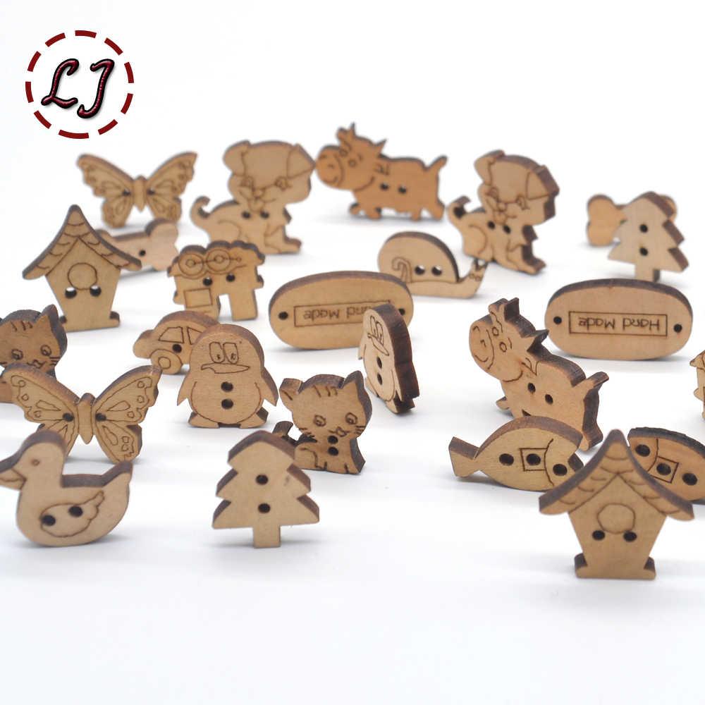 Caliente 50 unids/lote botón de madera de dibujos animados lindos de color natural para niños botones de costura accesorios de ropa artesanía de madera decoración DIY