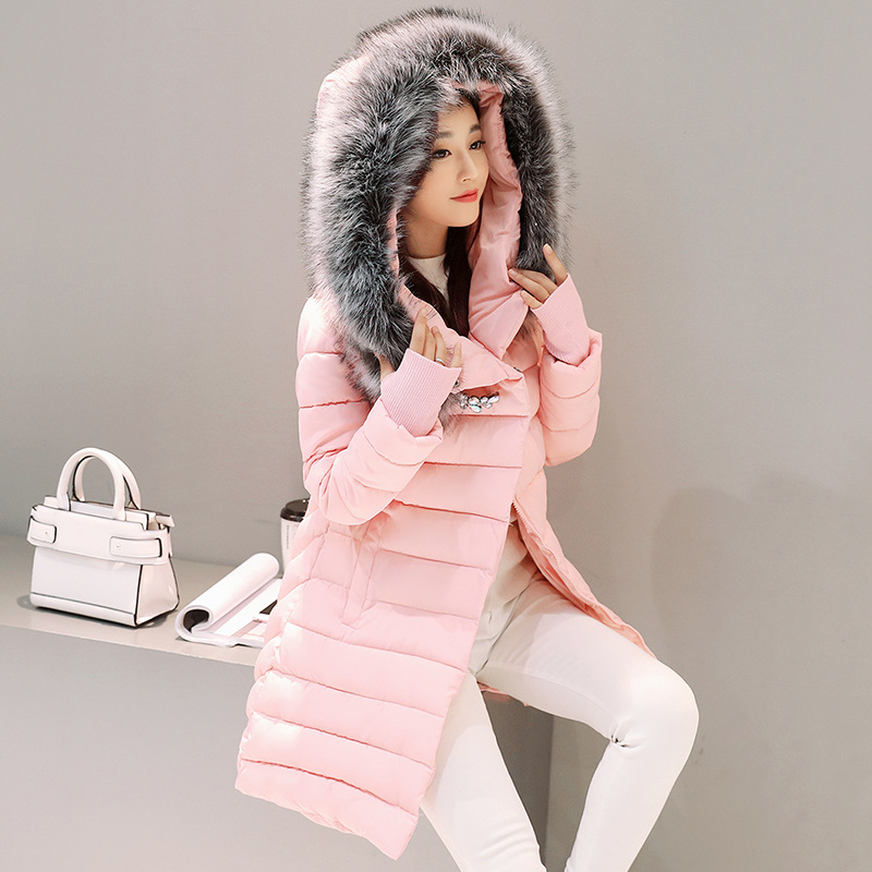 Winter Jacket Women New Europe Style Fashion Loose Medium Long Big Fur Collar Gloves Sleeve Down Parkas Lady Coat Mujer MZ1701 стоимость