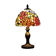 Stained Glass Red Rose Flower Wedding Marriage Living Drawing Room Decorative LED Bedside Desk Small Table Lamp Light Decoratio