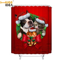 цена на HUGSIDEA Merry Christmas Decor For Home Santa Claus Shower Curtain Sleepy Cat Dog Waterproof Bathroom Shower Bath Curtain