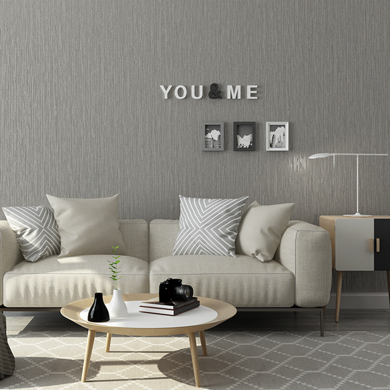 bedroom grey modern solid textured plain silver metallic wall paper yellow simple decor