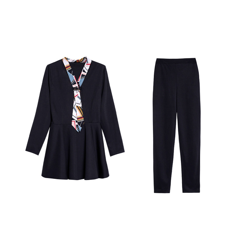 L-5xl Black Autumn Two Piece Sets Outfits Women Plus Size Long Sleeve Tunics Tops And Pants Suits Elegant Office Ol Style Sets 29