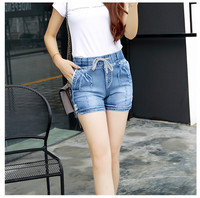 Women Fashion Style High Waist Denim Shorts Stretch Casual Basic Jeans Shorts High Quality Short Pants