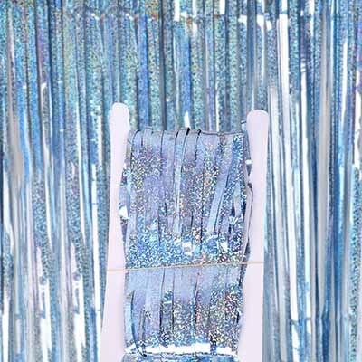 2 м 3 м 4 М Металлическая бахрома из фольги мерцающий фон свадебная вечеринка украшение стены фото стенд фон мишура блестящие занавески золото - Цвет: laser sky blue
