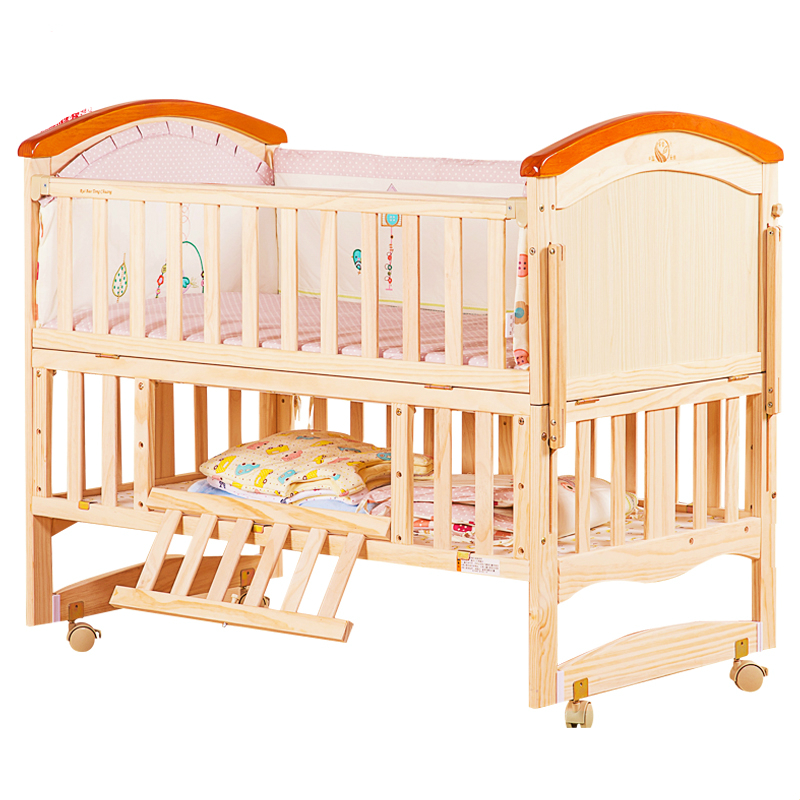 Pine solid wood baby bed European multifunctional baby cradle bed newborn crib portable baby playpen variable desk shocking bed samsung ep pn920 black