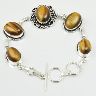 Tiger Eye Bracelet Silver Overlay over Copper 20 cm B2223 in Charm Bracelets from Jewelry Accessories